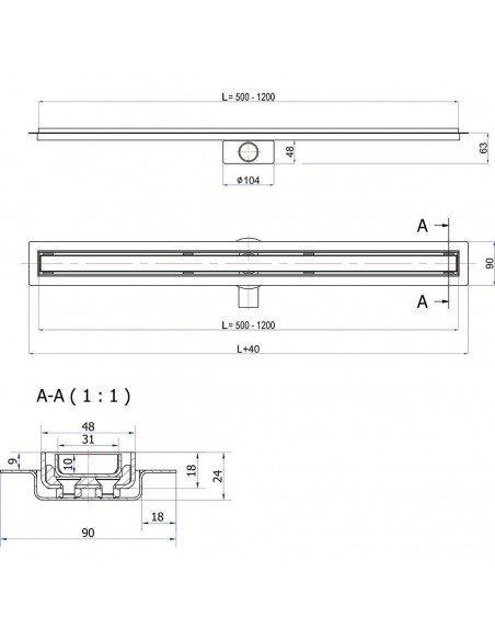 Linear drain Wiper 700 mm Elite Pure