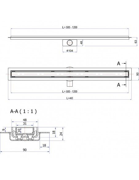 Linear drain Wiper 900 mm Elite Pure