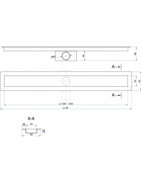 Linear drain Wiper 1000 mm Invisible Slim