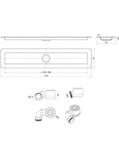 Linear drain Wiper 500 mm Invisible