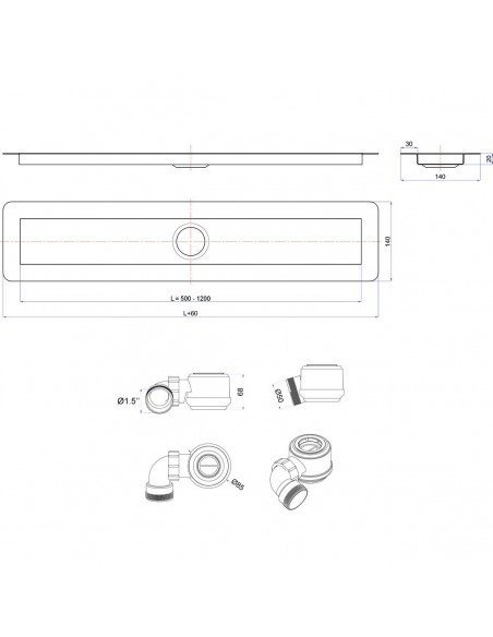 Linear drain Wiper 1200 mm Invisible