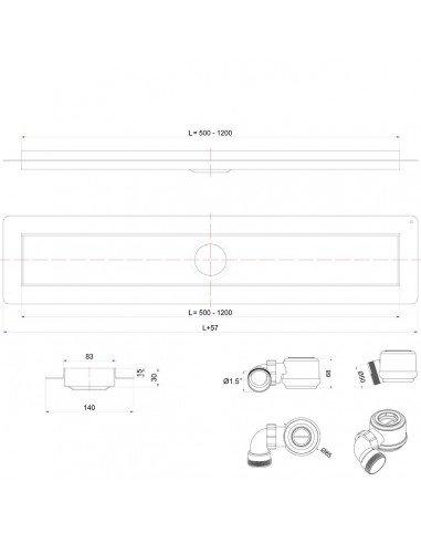Linear drain Wiper 600 mm Classic Mistral