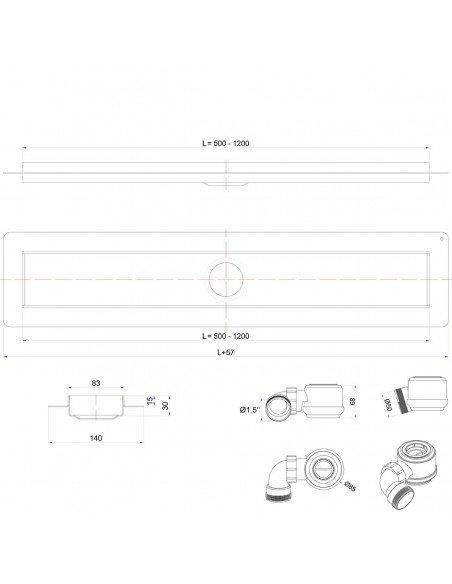 Linear drain Wiper 1100 mm Premium Mistral