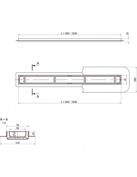 Linear drain Sieme 800 mm Clear