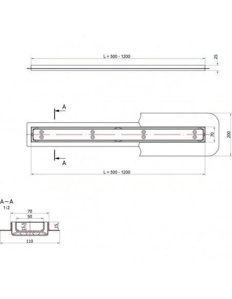Linear drain Sieme 700 mm Steel