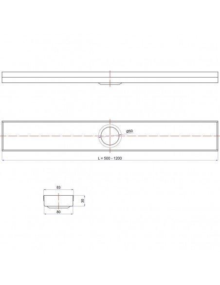 Linear drain Wiper 500 mm Classic Pure