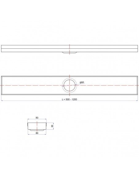 Linear drain Wiper 500 mm Classic Sirocco