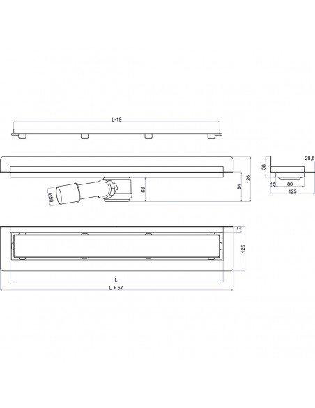 Linear drain Wiper 700 mm Wall Upstand Tivano