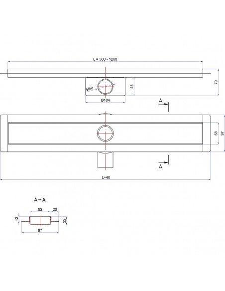 Linear drain Wiper 600 mm Premium Slim Ponente