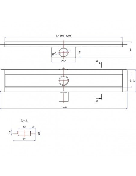 Linear drain Wiper 1200 mm Premium Slim Ponente
