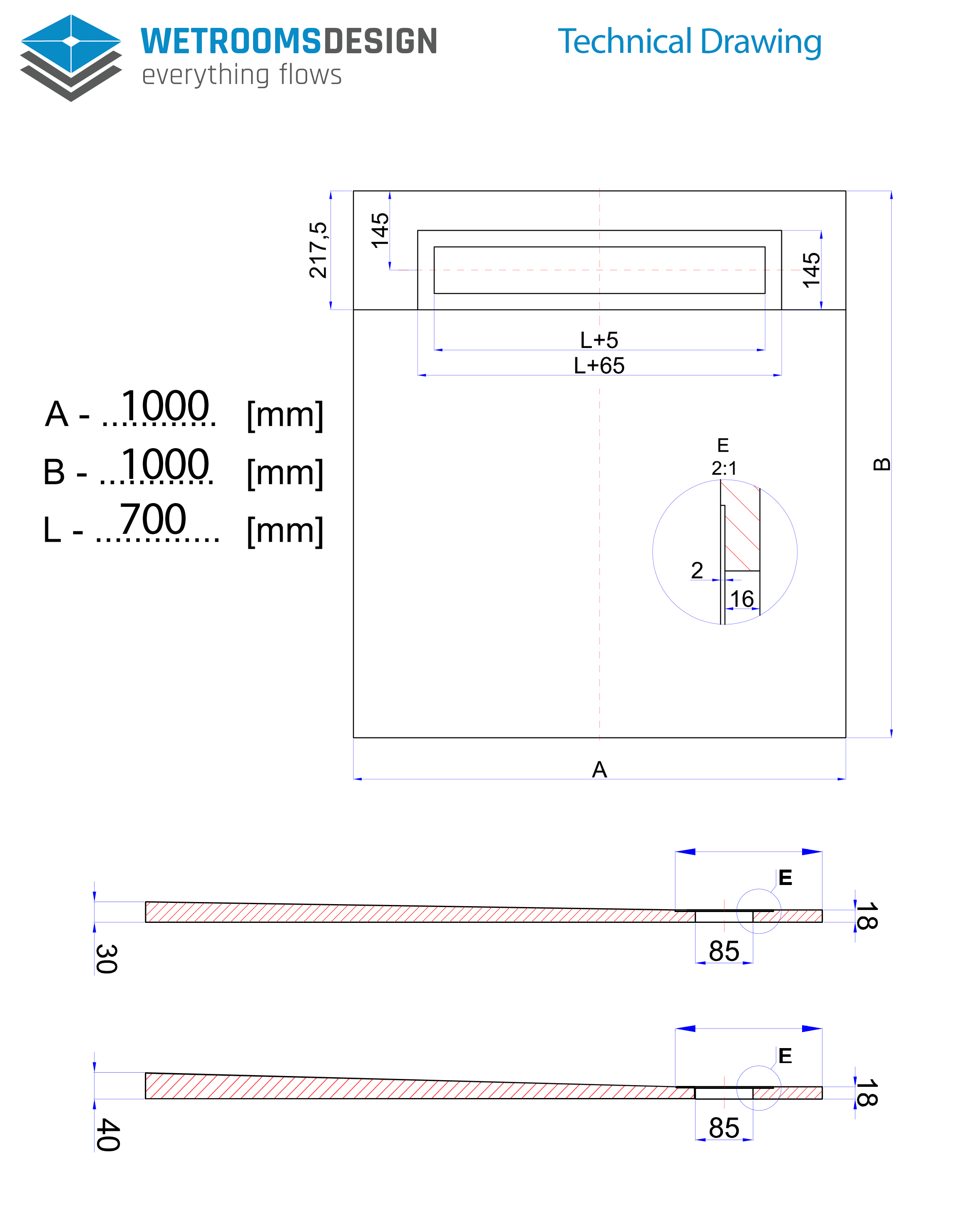 Technical Drawing OneWay Fall Showerlay Wetrooms Design