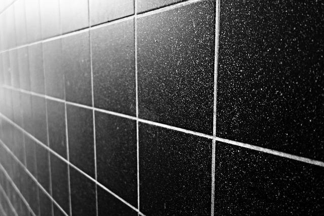 Clean ceramic tiles in a wet room