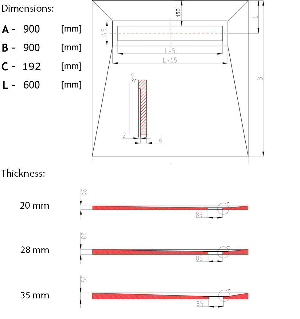 20 mm thick Wet room kit 900 x 900 technical drawing
