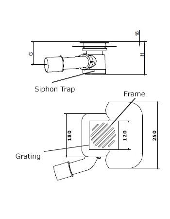 Square drain tech drawing